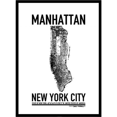 manhattan map poster find your posters at wallstars online shop today. Black Bedroom Furniture Sets. Home Design Ideas