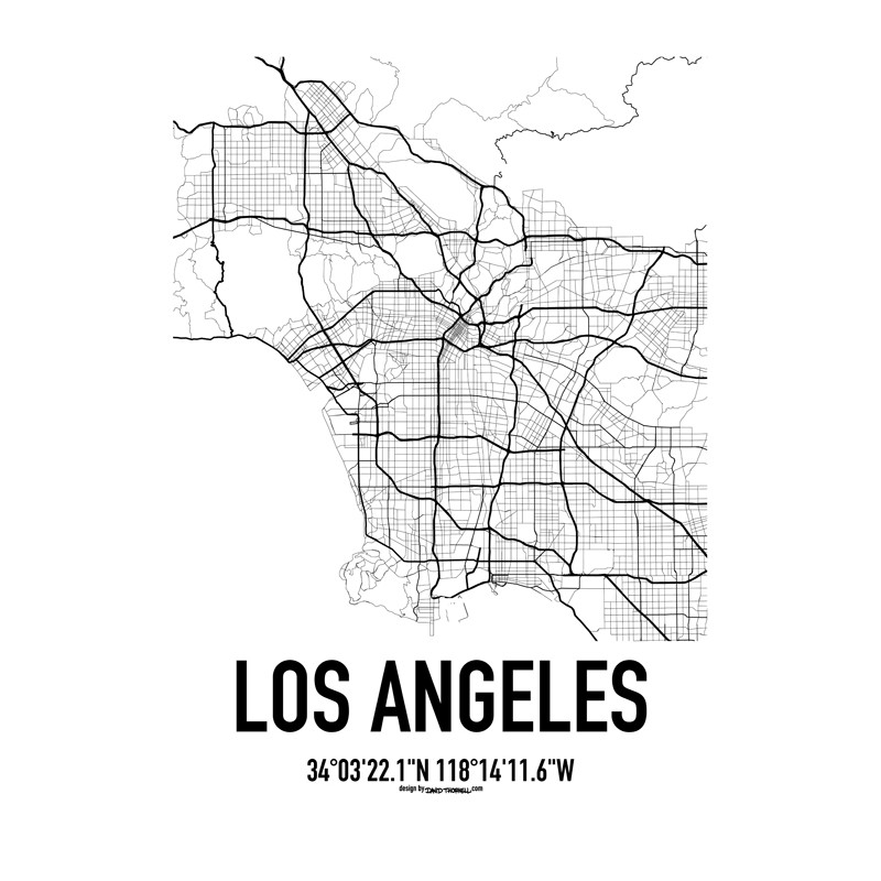 Los Angeles Map Poster Find Your Posters At Wallstars