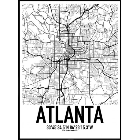 Atlanta Map Poster. Find your posters at Wallstars Online. Shop today!