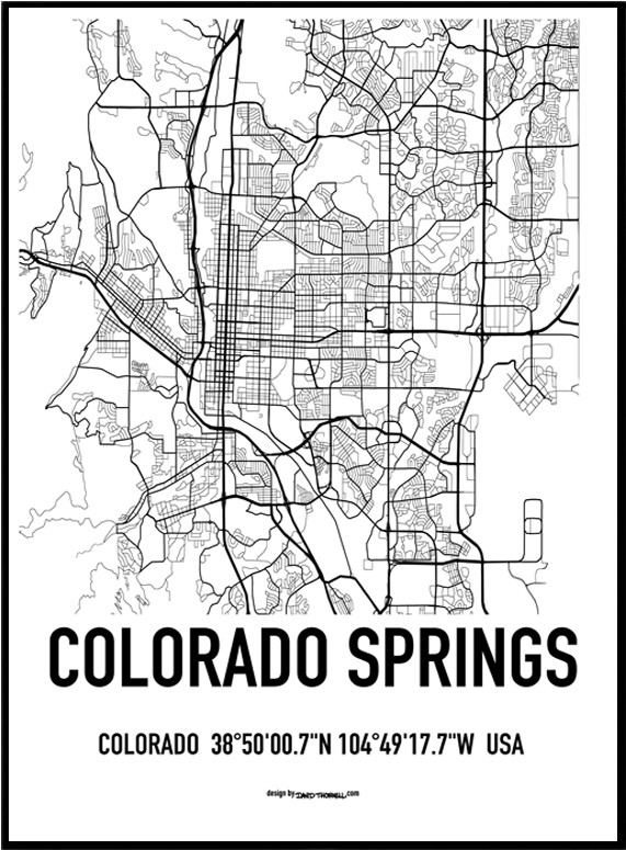 Colorado Map Art.Colorado Springs Map Poster Find Your Posters At Wallstars Online