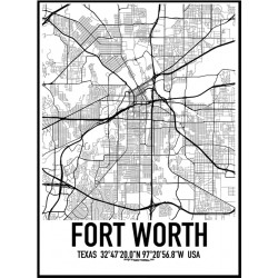 Fort Worth Map Poster