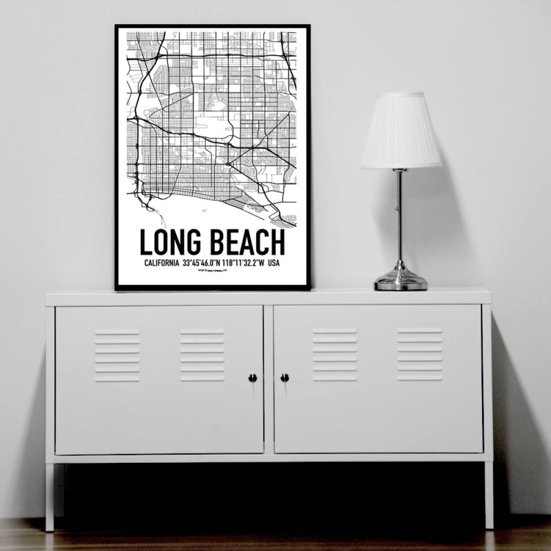Long beach map poster find your posters at wallstars for Home decor online shopping usa