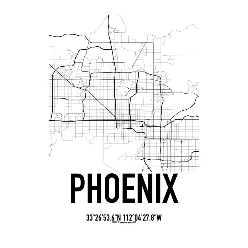 Phoenix Usa Map: Phoenix Map Poster. Find Your Posters At Wallstars Online