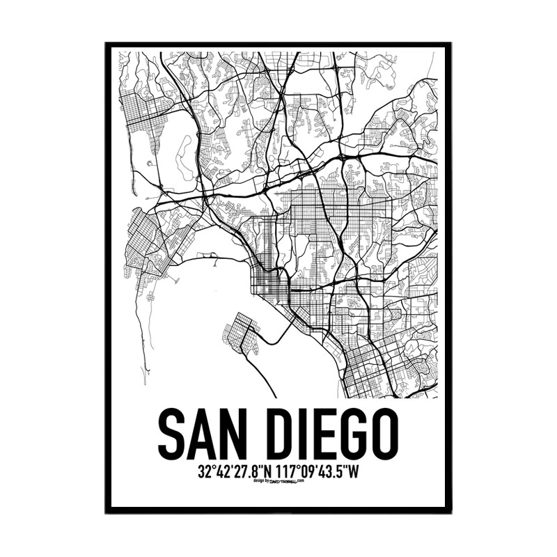 San Diego Map Poster. Find your posters at Wallstars Online. Shop