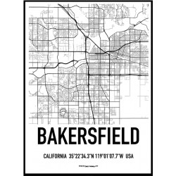 Bakersfield Map Poster