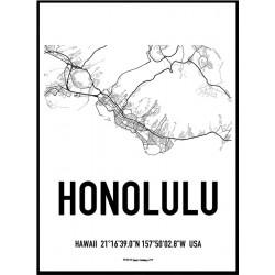 Honolulu Map Poster