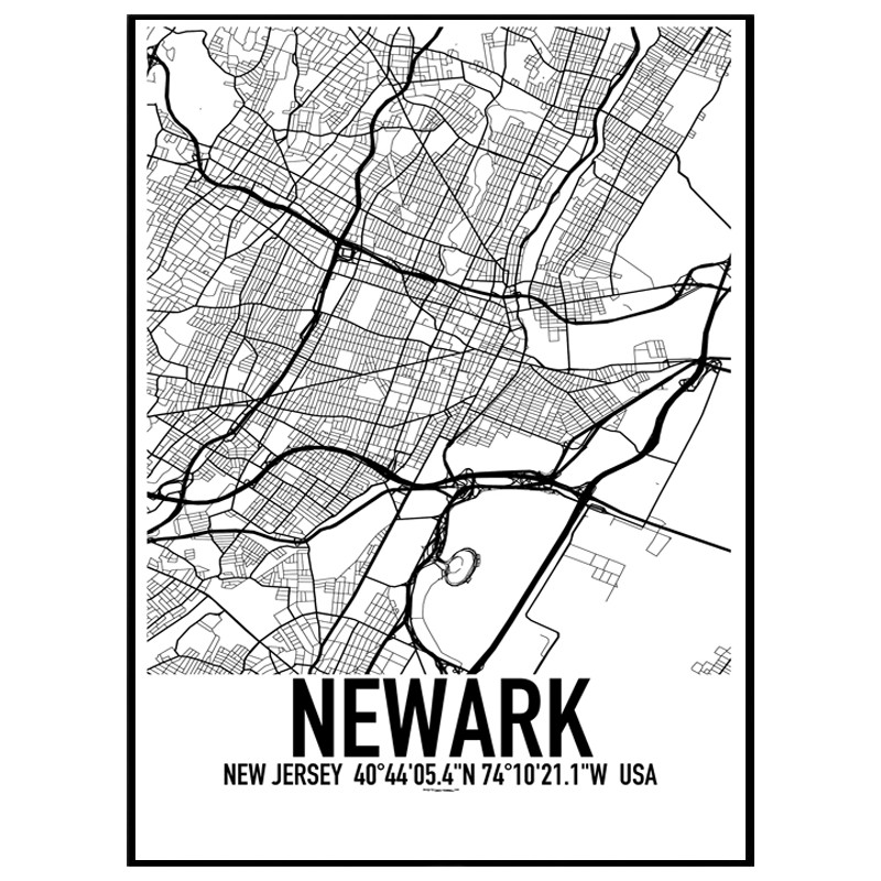 Newark New Jersey Map Poster Find Your Posters At Wallstars Online