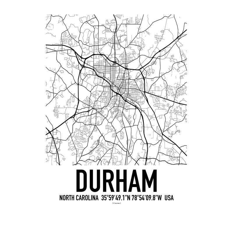 Durham NC Map Poster Find Your Posters At Wallstars Online Shop - Ncmap