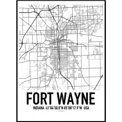 Fort Wayne Map Poster