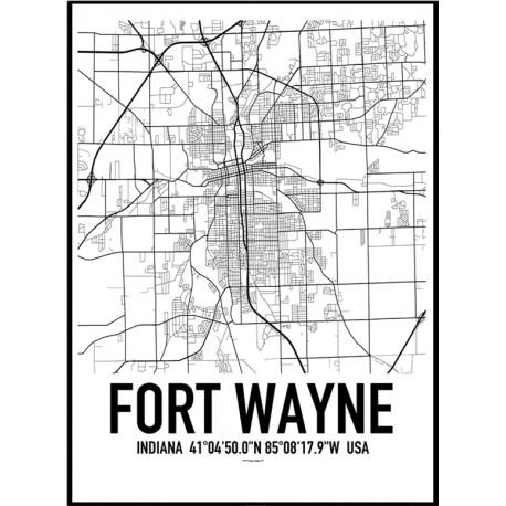 Fort Wayne Map Poster