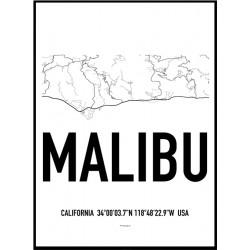 Malibu Map Poster
