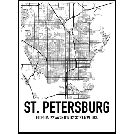 1990 St Petersburg Map Poster Map Usa Poster on living room themes