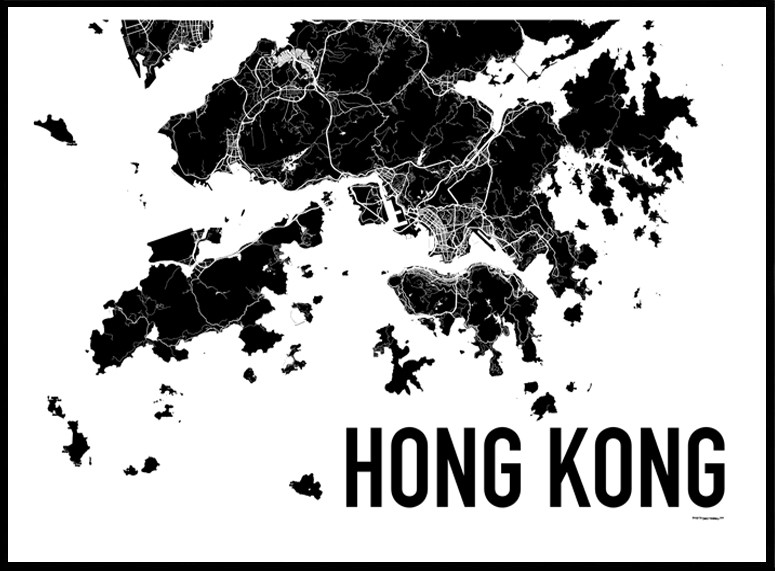 Hong kong map poster find your posters at wallstars online shop today gumiabroncs Choice Image