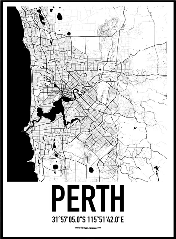 Perth map poster find your posters at wallstars online shop today gumiabroncs Image collections