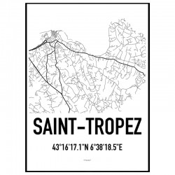 Saint-Tropez Map Poster