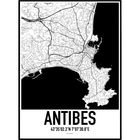 Antibes Map Poster