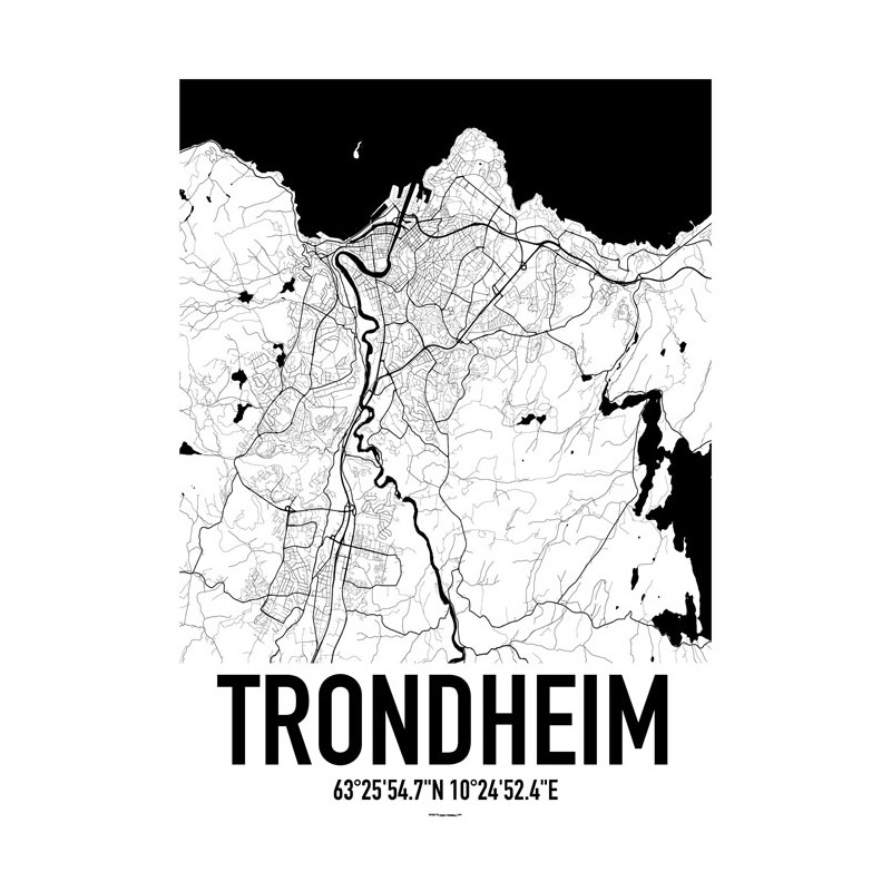 Trondheim Map Poster Find your posters at Wallstars Online Shop today
