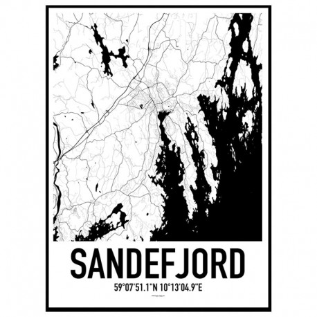 Sandefjord Map Poster Find your posters at Wallstars Online Shop