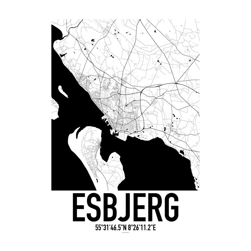 Esbjerg Map Poster. Find your posters at Wallstars Online. Shop today!