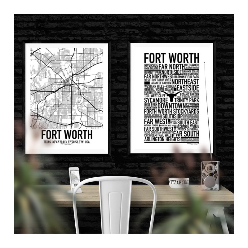 home decor stores in fort worth texas fort worth map poster find your posters at wallstars 13601